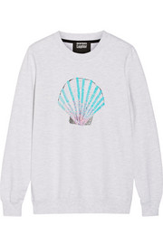 Shell sequined cotton-terry sweatshirt