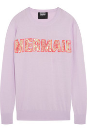 Mermaid sequined cotton-blend sweater