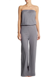 Back Label Strapless jersey jumpsuit