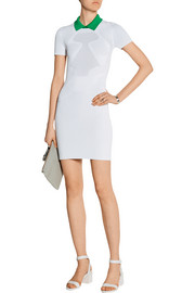 Contrast-trim stretch-knit mini dress
