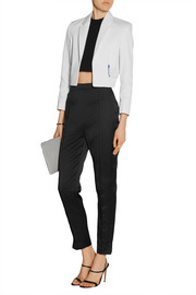 Cropped mesh-trimmed cotton-cady blazer