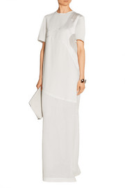 Paneled crepe and mesh maxi dress