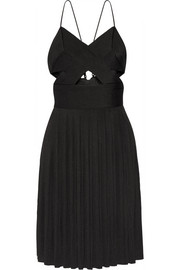 Cutout pleated stretch-jersey dress