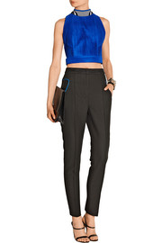 Cropped pleated mesh top
