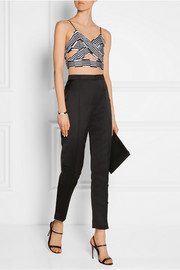 Cropped printed chiffon top