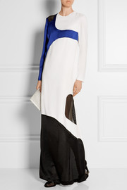 Color-block mesh-paneled crepe gown