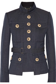 Belted wool-gabardine jacket
