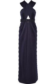 Embellished cutout stretch-satin jersey gown
