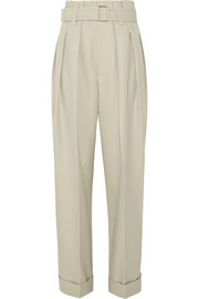 High-rise wool-gabardine wide-leg pants