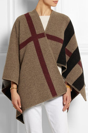 Checked wool and cashmere-blend cape