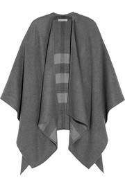 Checked merino wool cape