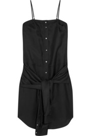 T by Alexander Wang Knotted-front silk-twill dress