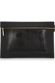 Victoria Beckham Python and leather clutch