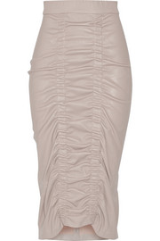 Gemma ruched stretch-leather midi skirt