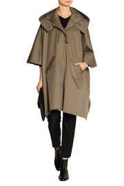 Oversized cotton-blend twill poncho