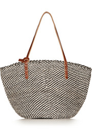 Kenya leather-trimmed woven sisal tote