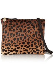 Leopard-print calf hair and brushed-leather shoulder bag