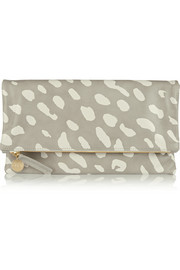 Foldover printed leather clutch