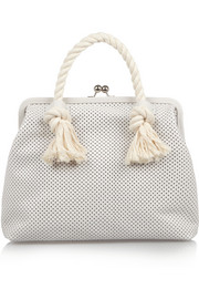 Franc rope-trimmed perforated leather tote