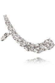 Rhodium-plated cubic zirconia ear cuff