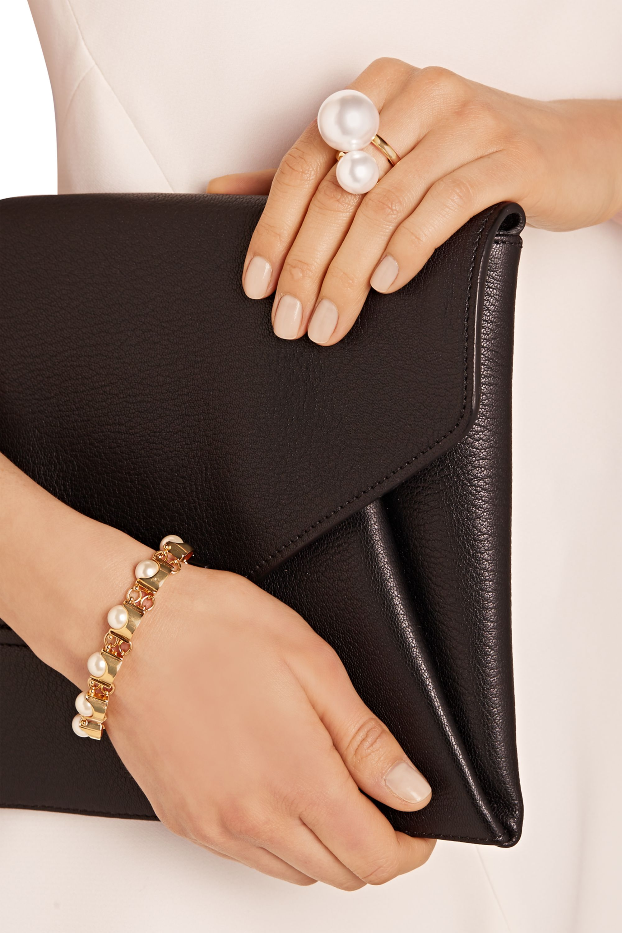 Kenneth Jay Lane Gold-plated faux pearl ring
