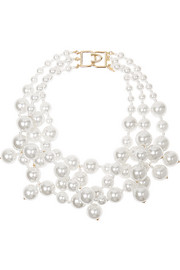 Gold-plated faux pearl necklace