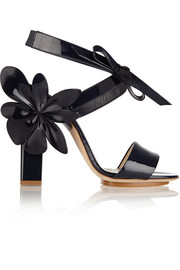 Appliquéd patent-leather sandals