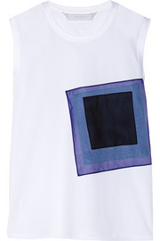Appliquéd cotton-poplin and stretch-cotton jersey top
