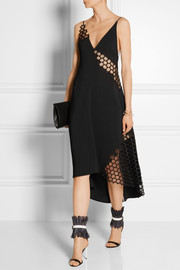 Honeycomb mesh-paneled stretch-crepe dress