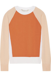 Crepe-paneled cashmere, merino wool and silk-blend sweater