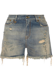 Shredded Slouch distressed denim shorts