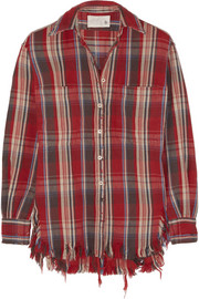 Distressed plaid cotton shirt