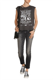 Distressed printed cotton and cashmere-blend jersey T-shirt