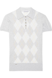Argyle-print cotton and cashmere-blend polo shirt