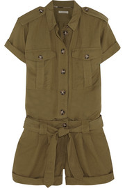 Silk and linen-blend playsuit
