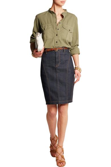 42b689c085 Burberry | Stretch-denim pencil skirt | NET-A-PORTER.COM