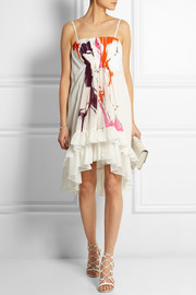 Sybil pleated printed silk-georgette dress
