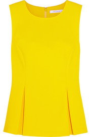 Diane von Furstenberg Mallorie pleated stretch-crepe top