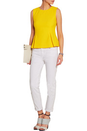 Mallorie pleated stretch-crepe top