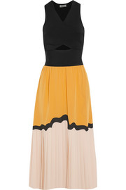 Veda stretch-knit, silk crepe de chine and georgette dress