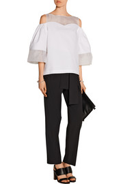 Mandy paneled cotton-poplin and silk-organza top