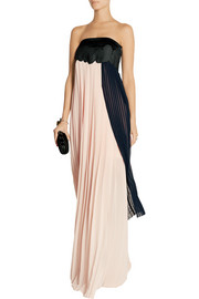 Femke pleated chiffon and coated-jersey gown