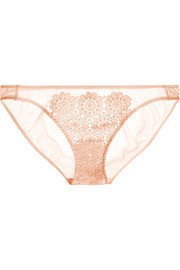 Puffin guipure lace and stretch-silk satin briefs