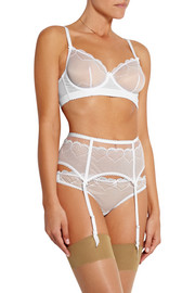 Skylark Swiss-dot cotton and stretch-lace underwired bra