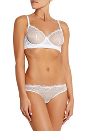 Skylark Swiss-dot cotton-paneled stretch-lace briefs