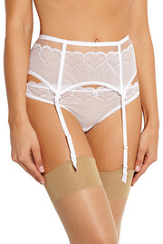 Skylark stretch-lace suspender belt