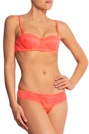 Cockatoo neon lace-trimmed stretch-silk thong
