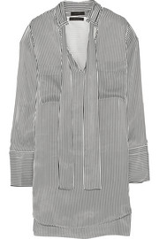 Melanie striped satin shirt dress