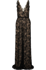Marchesa Embellished lace and tulle jumpsuit