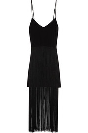 Elle fringed silk mini dress